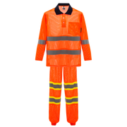Cooley Hi-Vis Mesh Long Sleeve Shirt & Reflective Pant Set - Orange/Orange