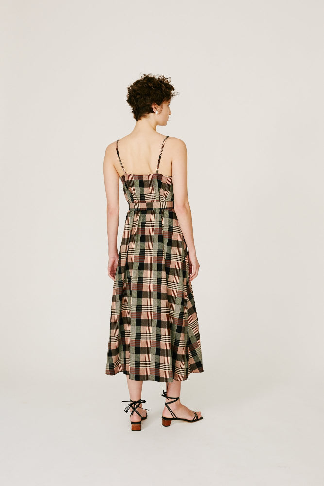 NORTON - BROWN CHECK CAMI DRESS