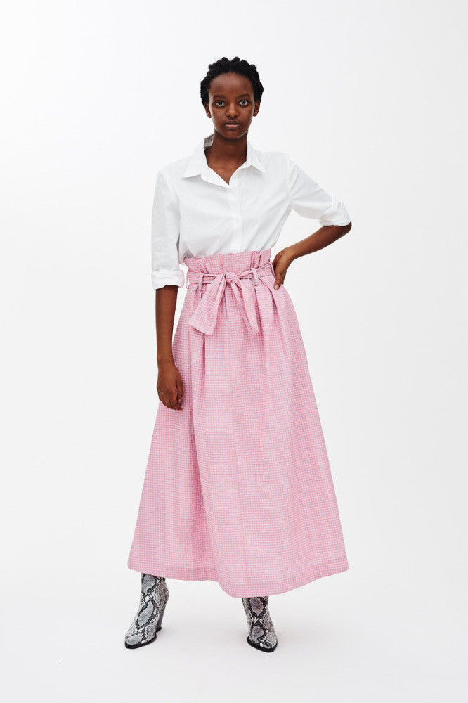 DOMINIC - HOT PINK CHECK PAPER BAG SKIRT