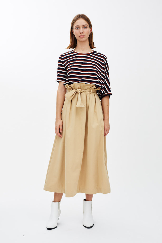 DOMINIC - CAMEL PAPER BAG SKIRT
