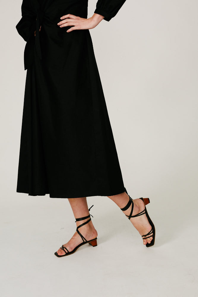 MARCEL - TIE DETAIL DRESS (BLACK)