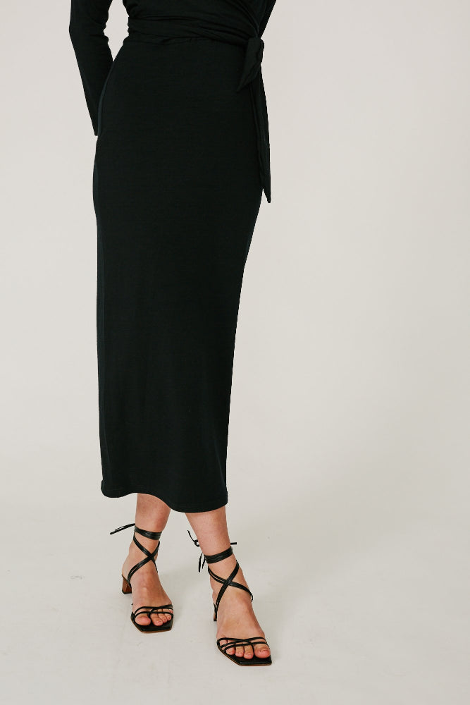 BONNER - WRAP JERSEY DRESS (BLACK)