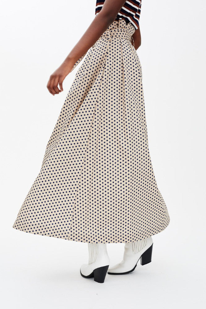 DOMINIC - BEIGE/NAVY POLKA DOT PAPER BAG SKIRT