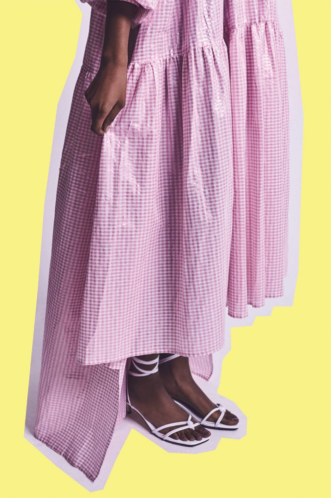 LEEROY DRESS PINK METALLIC GINGHAM (MADE TO ORDER)