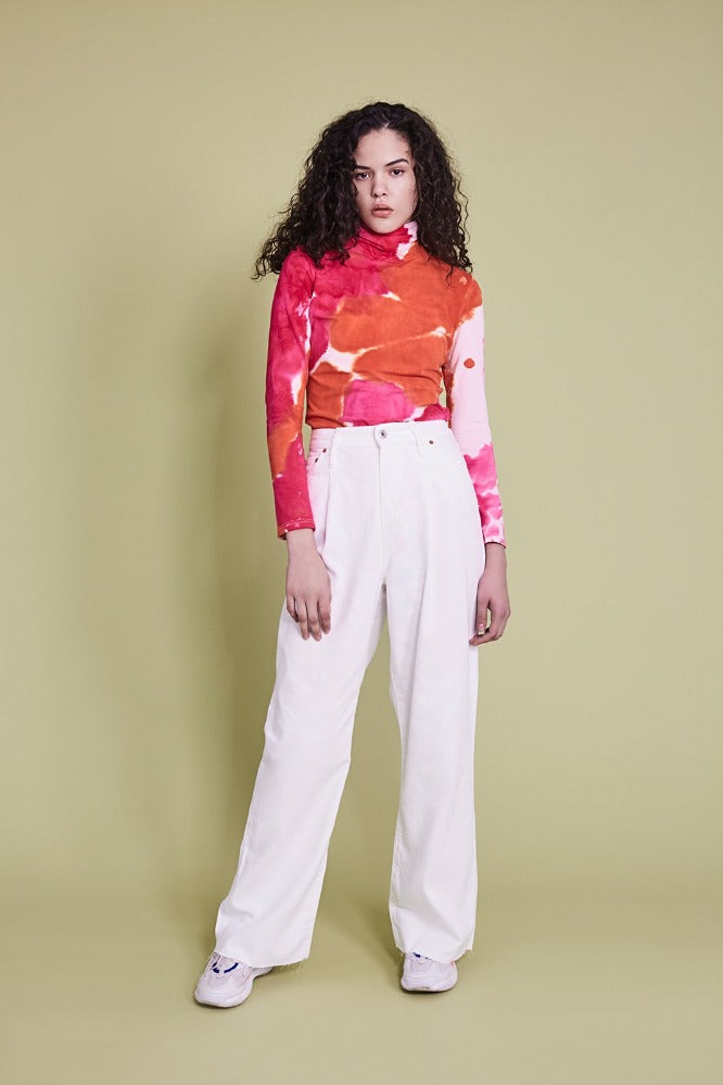 KAT     (TURTLE NECK) - TIE DYE - ORANGE/HOT PINK - (PRE-ORDER)