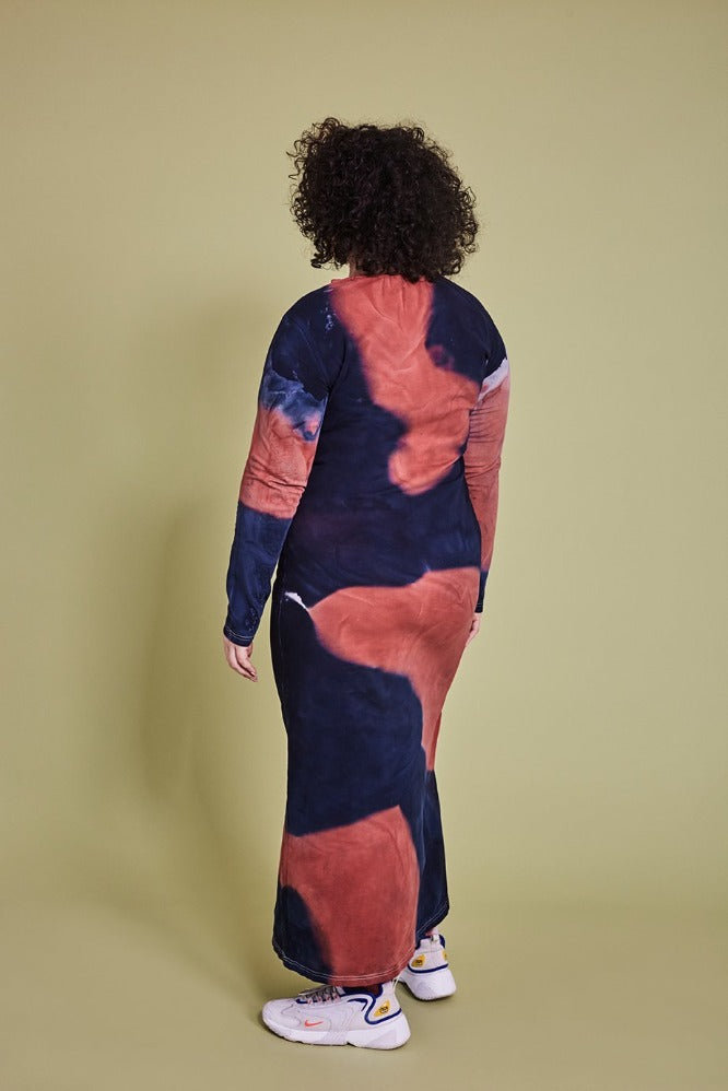 MELISSA DRESS - TIE DYE - NAVY/CLAY (MADE TO ORDER)