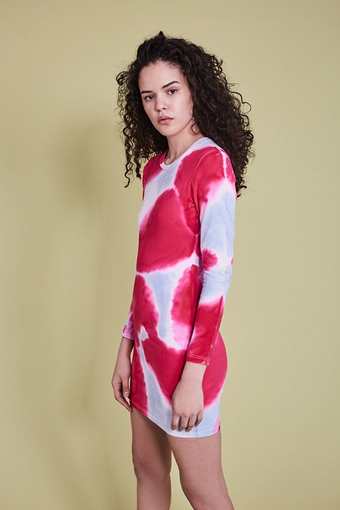 BECCA DRESS - TIE DYE - SKY BLUE/HOT PINK (MADE TO ORDER)