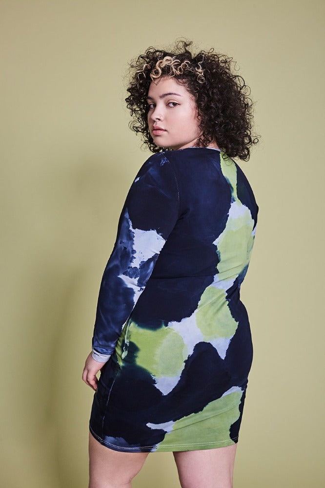 BECCA DRESS - TIE DYE - NAVY/LIME GREEN - (MADE TO ORDER)