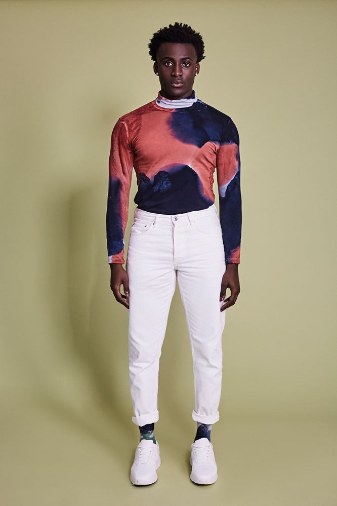 KAT TURTLE NECK - MEN - TIE DYE - NAVY/CLAY - (MADE TO ORDER)