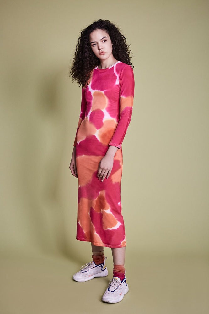 MELISSA  (DRESS) - TIE DYE HOT PINK/ORANGE (PRE-ORDER)