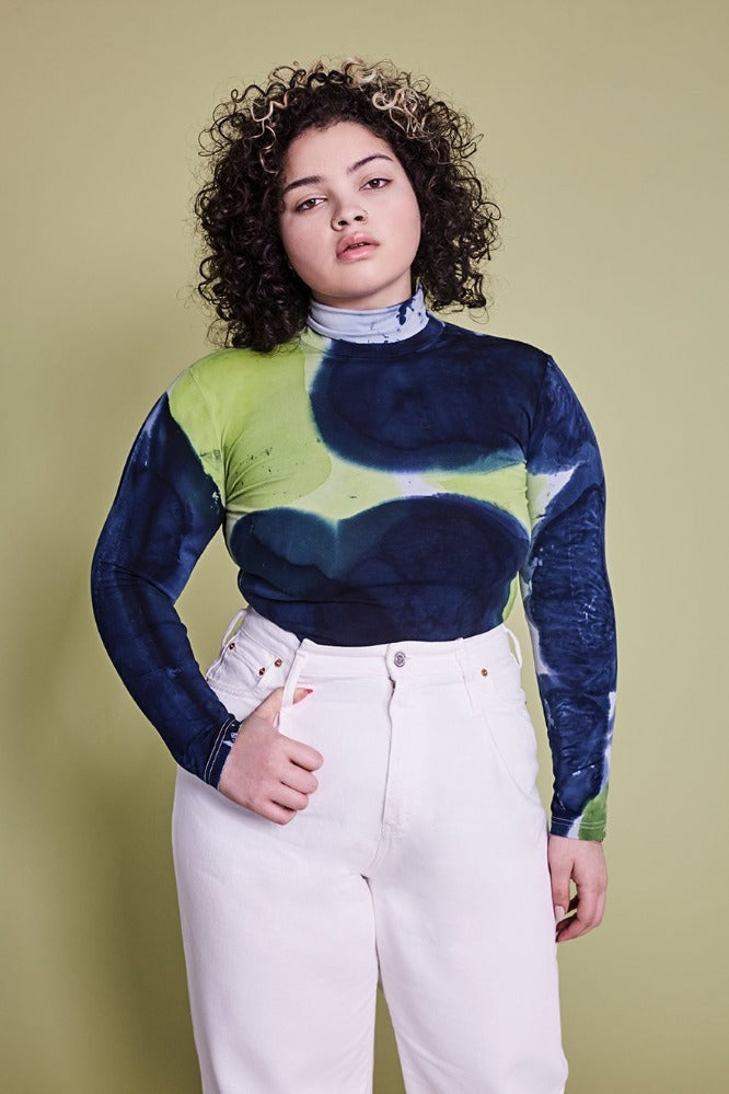 KAT TURTLE NECK - TIE DYE - NAVY/LIME GREEN - (MADE TO ORDER)