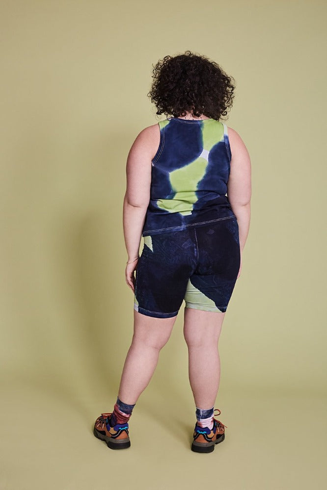 MAGGIE  (BIKE LEGGINGS) - TIE DYE - NAVY/LIME GREEN - (PRE-ORDER)