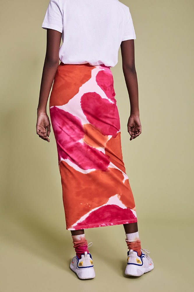 STAM  SKIRT - TIE DYE - ORANGE/HOT PINK - (MADE TO ORDER)