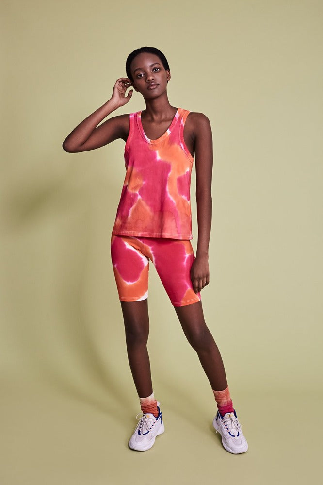 MAGGIE  (BIKE LEGGINGS) - TIE DYE - ORANGE/HOT PINK - (PRE-ORDER)
