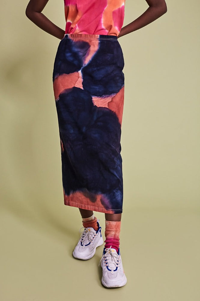 STAM  SKIRT - TIE DYE - NAVY/CLAY - (MADE TO ORDER)