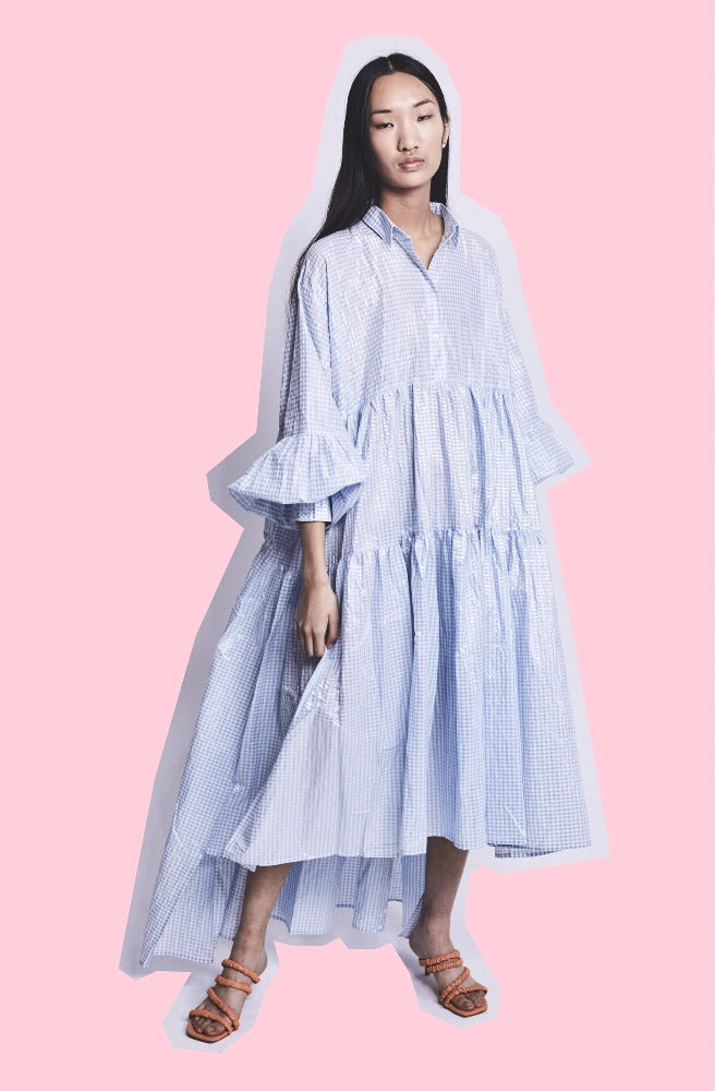 LEEROY (DRESS) BLUE METALLIC GINGHAM (PRE-ORDER)