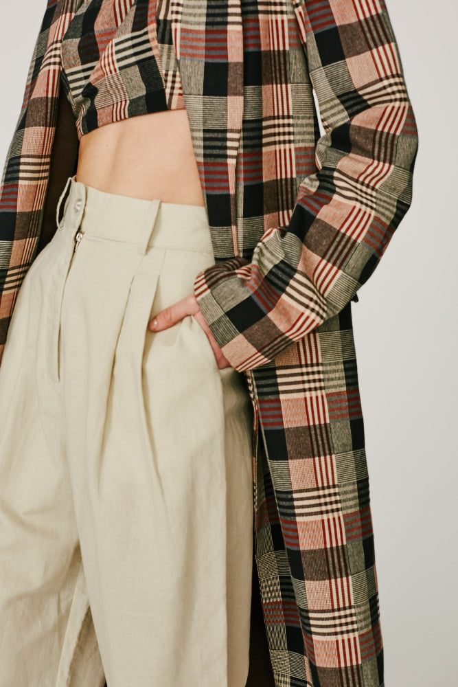 ZAKKA - CLASSIC TRANS-SEASONAL LIGHT WEIGHT TRENCH  (BROWN CHECKS)