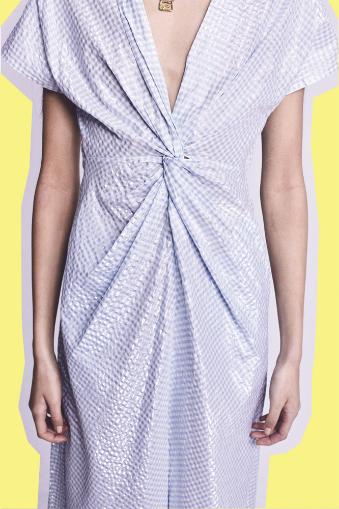 ROCH (DRESS) BLUE METALLIC GINGHAM (PRE-ORDER)