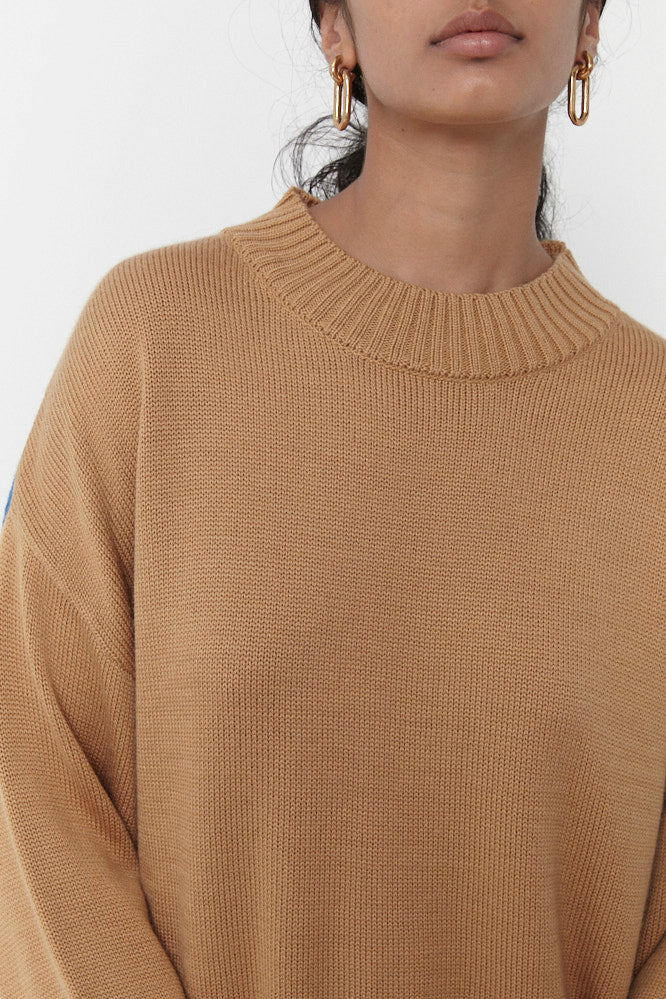 PABLO ROUND NECK KNIT JUMPER CAMEL/BLUE (MADE TO ORDER)