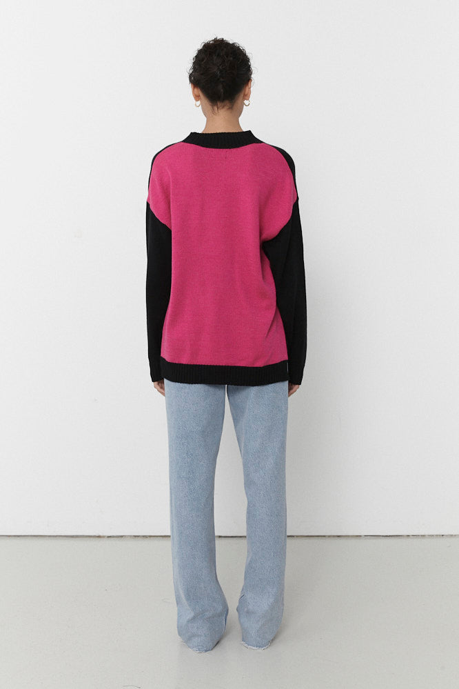 PABLO ROUND NECK KNIT JUMPER BLACK/HOT PINK (MADE TO ORDER)