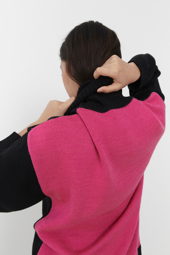 GINO TURTLE NECK KNIT JUMPER BLACK/HOT PINK (MADE TO ORDER)