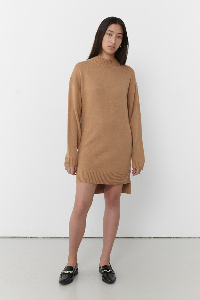 HILTON ROUND NECK KNIT JUMPER DRESS CAMEL/BLUE (MADE TO ORDER)