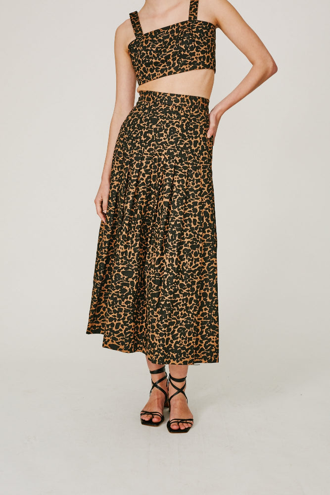 MOSES - PLEATED SKIRT (LEOPARD PRINT)