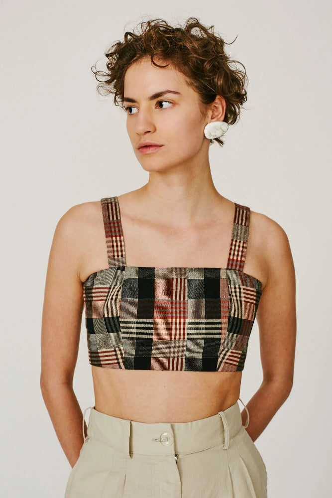 ELVIS -CROP TOP (BROWN CHECK)