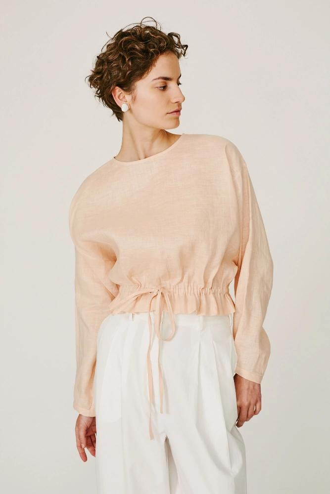 ORLANDO - DRAWSTRING TOP (TAN)