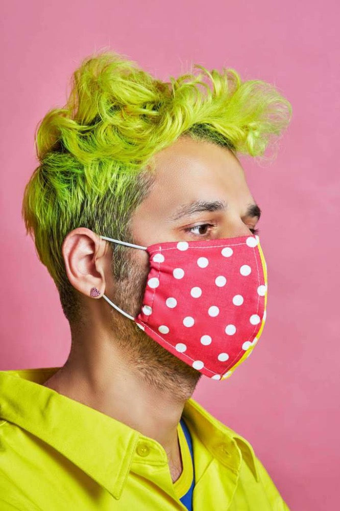 POLKA DOT MASKS HALF HOT PINK/YELLOW WITH WHITE POLKA DOTS