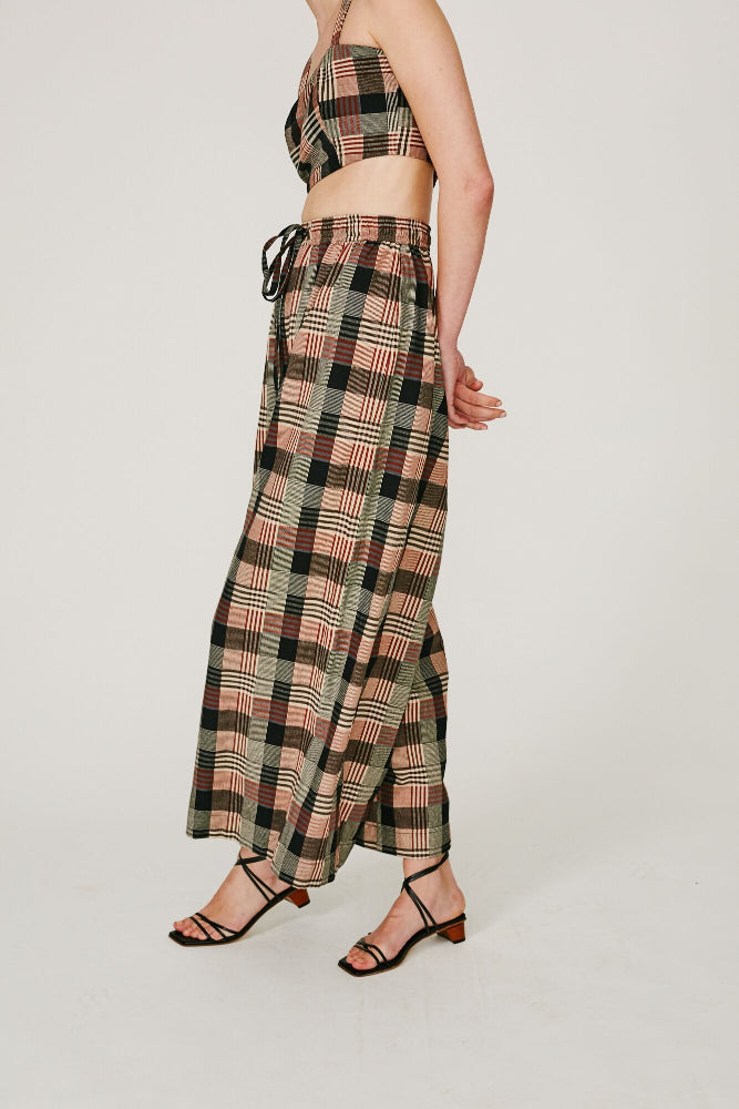 TURNER - DRAWSTRING WIDE LEG PANT (BROWN CHECKS)