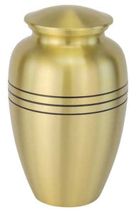 Cremation Urn - Classic Gold with 3 Bands