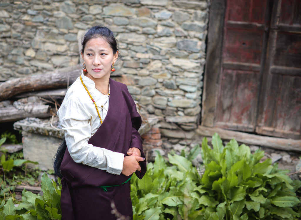 Our female Tibetan model in traditional dress in Kangding