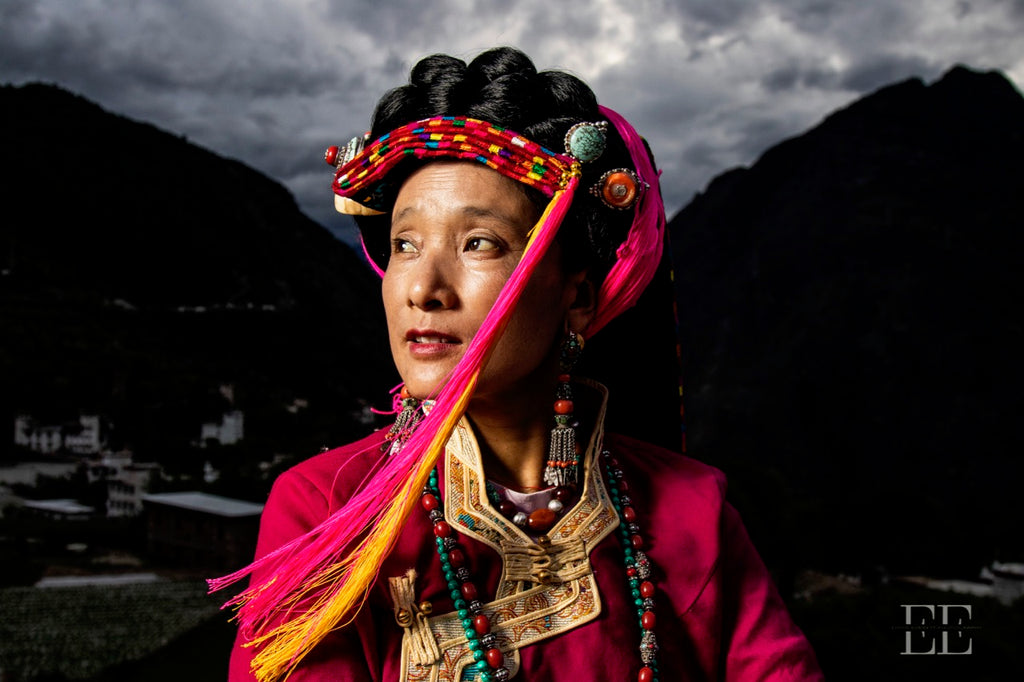 Danba Female Tibetan model in traditional dress