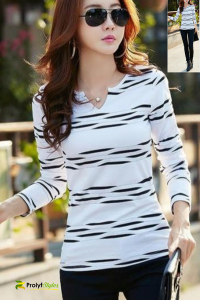Cute Black and White Long Sleeve Top