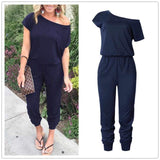 Blue Off Shoulder Jumpsuit - Men & women apparel, Women's swimwear, men's shirts and tops, Women jumpsuits and rompers, women spring fashion