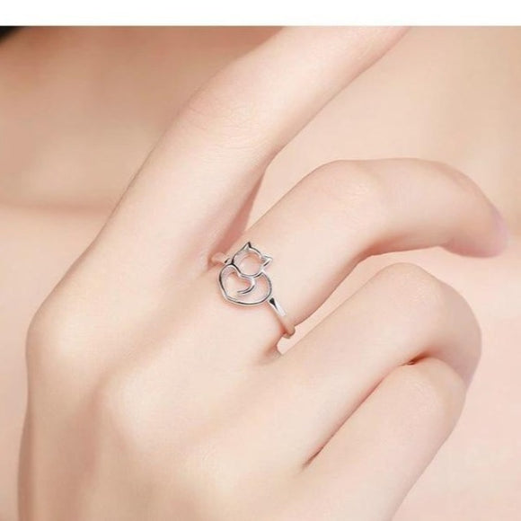 Sterling Silver Cubic Zirconia Cat Ring - Men & women apparel, Women's swimwear, men's shirts and tops, Women jumpsuits and rompers, women spring fashion