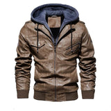 Men's Hooded Leather Jacket - Men & women apparel, Women's swimwear, men's shirts and tops, Women jumpsuits and rompers, women spring fashion