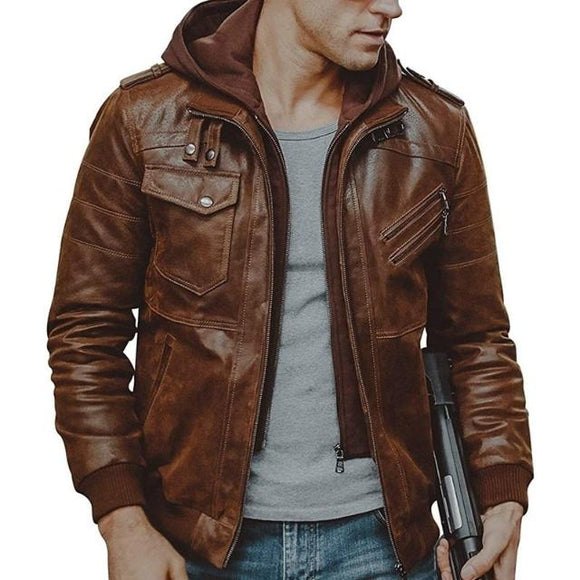Men's Hooded Leather Jacket - Prolyf Styles Men's Hooded Leather Jacket, Jacket, ProLyf Styles, ProLyf Styles