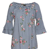 Fashion Print Cold Shoulder Top - Men & women apparel, Women's swimwear, men's shirts and tops, Women jumpsuits and rompers, women spring fashion