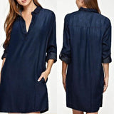 Long Sleeve Jeans Shirt Dress - Men & women apparel, Women's swimwear, men's shirts and tops, Women jumpsuits and rompers, women spring fashion