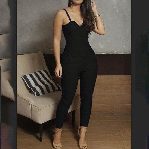 V Cut Dressy Jumpsuit - Men & women apparel, Women's swimwear, men's shirts and tops, Women jumpsuits and rompers, women spring fashion