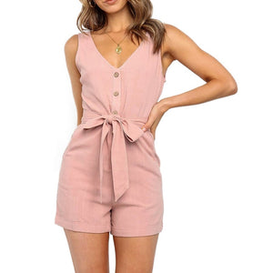Casual V Neck Short Jumpsuit - Men & women apparel, Women's swimwear, men's shirts and tops, Women jumpsuits and rompers, women spring fashion
