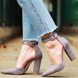 Pointed Toe Ankle Strap Pumps - Men & women apparel, Women's swimwear, men's shirts and tops, Women jumpsuits and rompers, women spring fashion