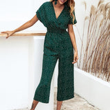 Dotted Print Casual V-neck Jumpsuit - Men & women apparel, Women's swimwear, men's shirts and tops, Women jumpsuits and rompers, women spring fashion
