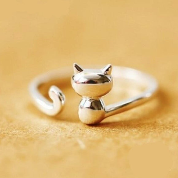 Women's Sterling Silver Cat Ring - Men & women apparel, Women's swimwear, men's shirts and tops, Women jumpsuits and rompers, women spring fashion
