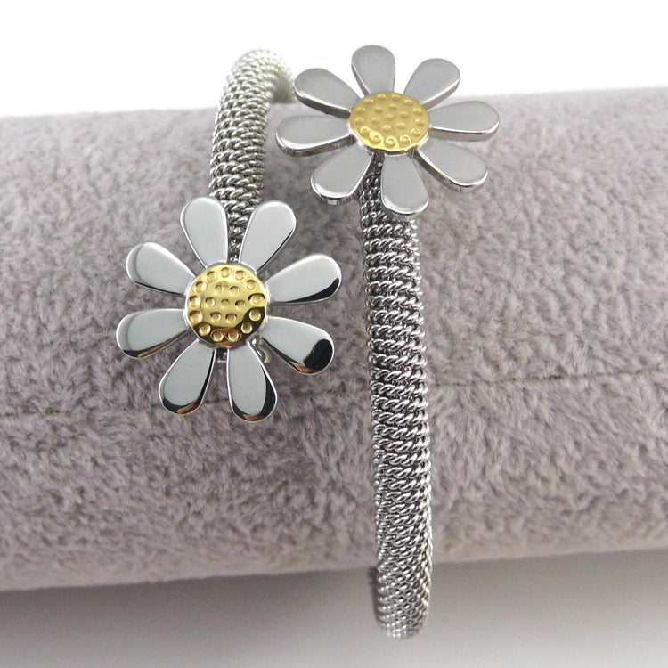 Elastic Flower Stainless Steel Fashion Jewelry Bracelets Bangles For Women