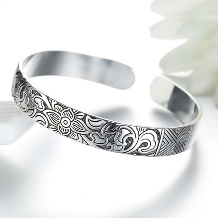 Silver Plated Leaf Bracelet Bangles for Men and Women