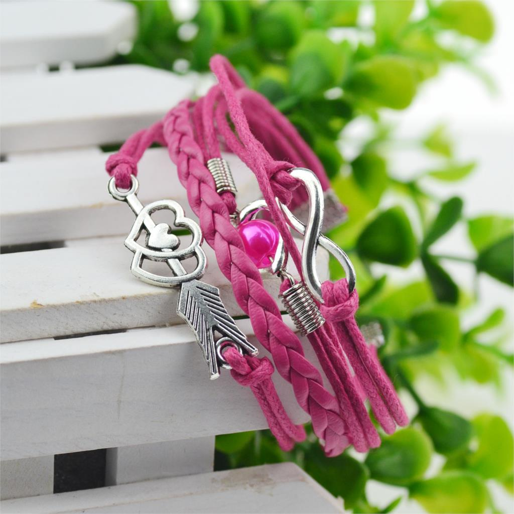 Rose leather bracelets for women