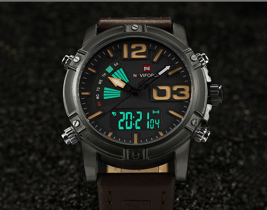 Men's Fashion Sport Quartz Analog Date Mens Watches Leather Military Waterproof Watch